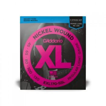 D'Addario XL Bass 5ST Super Long Reg Light 45-130